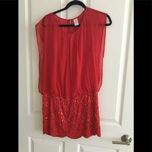 Red and sequin dress.